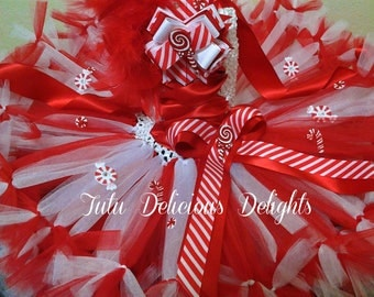 Candy Canes, Lollipops And Peppermints OH MY Red and White Christmas Tutu Dress