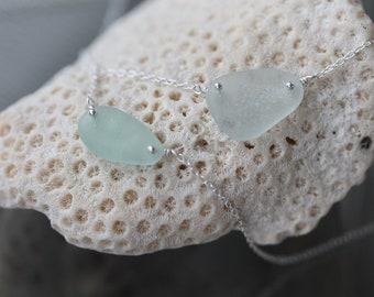 Sea Glass & Sterling Silver Necklace - Light Aqua