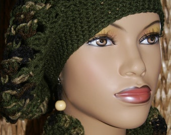 Crochet Tam with Matching Earrings-Camo Made To Order