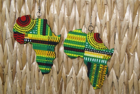 Large Fabric Covered Earrings-Africa
