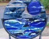 STORMY MOON On High Seas  suncatcher decor fused glass blue full moon over iridescent mosaic blue ocean
