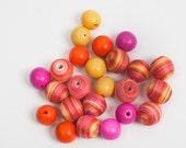 Mixed Beads - Pink, Orange, & Yellow - 24 Count
