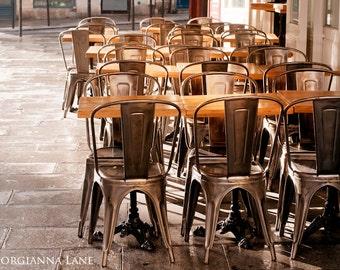 Paris Photograph - Chairs in Paris Cafe, Fine Art Photo, Bistro Home Decor, Kitchen Decor