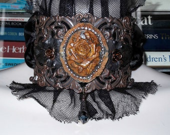 Rusty Black Patina, Filigree, Neck Cuff Choker with Rusty Floral Rose Cameo Black Leaves, Rhinestones and Tulle with Satin Ribbon