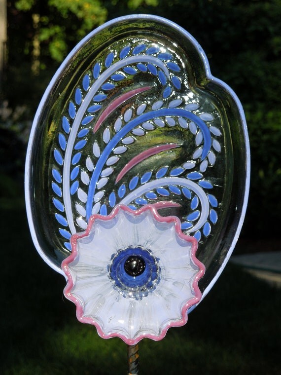 Yard and outdoor GARDEN  sun catcher with recycled glass