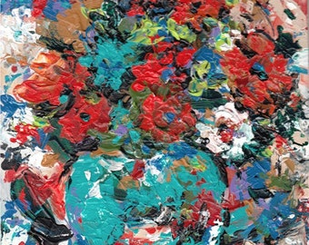 Vibrant  Floral Abstract, Palette Knife - Modern Art, Original Textured Acrylic Painting by  ebsq Artist Ricky Martin  FREE SHIPPING