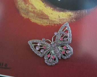 Silver Tone Butterfly Brooch with Shades of Pink Rhinestones
