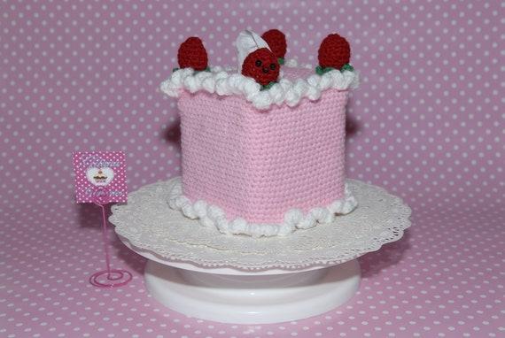 Strawberry Shortcake Tissue Box Cozy Cover - Tissue Box Covers-Kawaii- Food Tissue Box Cozy--Crochet Cozy-Pink-Crochet cake
