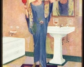 Vintage ART DECO Blue Flapper Girl Dress BATHROOM Bath Beauty Decor Fine Art Advertising Poster Print