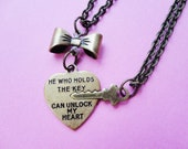 Unlock My Heart Antique Brass Couple Necklace