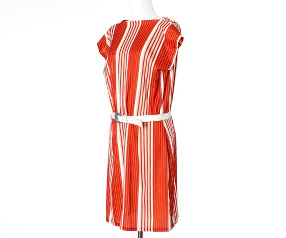 70s Vintage Dress Orange Stripes Belt Medium