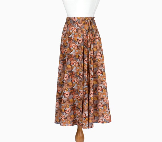 70s Vintage Wrap Skirt Poppy Butterfly Floral Fall Spring Small Medium