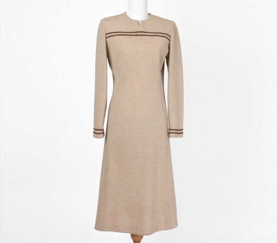60s Vintage Dress Tan Brown Stripes Sister Medium Large