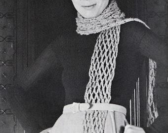 Crochet Hat and Scarf Pattern 1960s Hippie Vintage Crocheting PDF PATTERN Set of 2 padurns