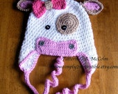 Molly Moo Cow Hat Pattern - Crochet Pattern 4 - Beanie and Earflap Pattern - Newborn to Adult - us or uk Terms - INSTANT DOWNLOAD