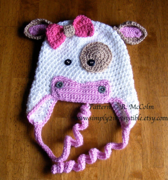 Free Crochet Pattern For Cow Hat : Molly Moo Cow Hat Pattern Crochet Pattern 4 Beanie and