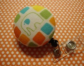 Geometric Elephant Retractable Badge Holder (J29B)