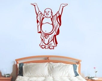Buddha wall decal, Happy standing buddha vinyl wall decal, wall sticker