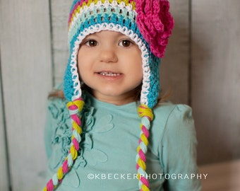 girls hat, little girl hat, girls earflap hat, baby girl hat, crochet baby hat
