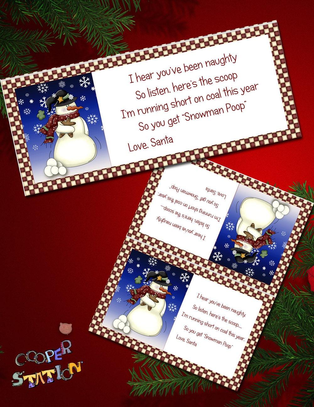 Reindeer Poop Printables Diy snowman poop digital bag toppers bg008 by ...