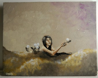Letting Go III - Dandelion - Textured Original Painting - 11 x 14