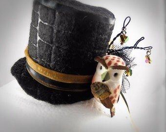 Mini Top Hat Hair Clip Owl, Wire Branches, Crystal Dangles, Ribbons, Embossed Felt, Tulle, Fascinator CLOSEOUT
