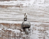 woodland mushroom oxidized silver necklace, silver pewter necklace, mushroom necklace, woodland necklace, mushroom sterling silver necklace