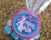 Custom 'About to Pop' Baby shower favor circles - Shower Favor tags - Party Supplies