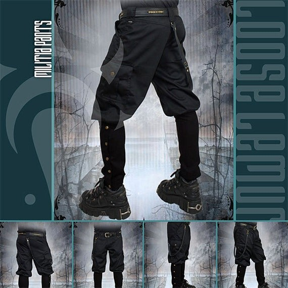 Militia Pants 100% Cotton Twill with Studded Leather Strap