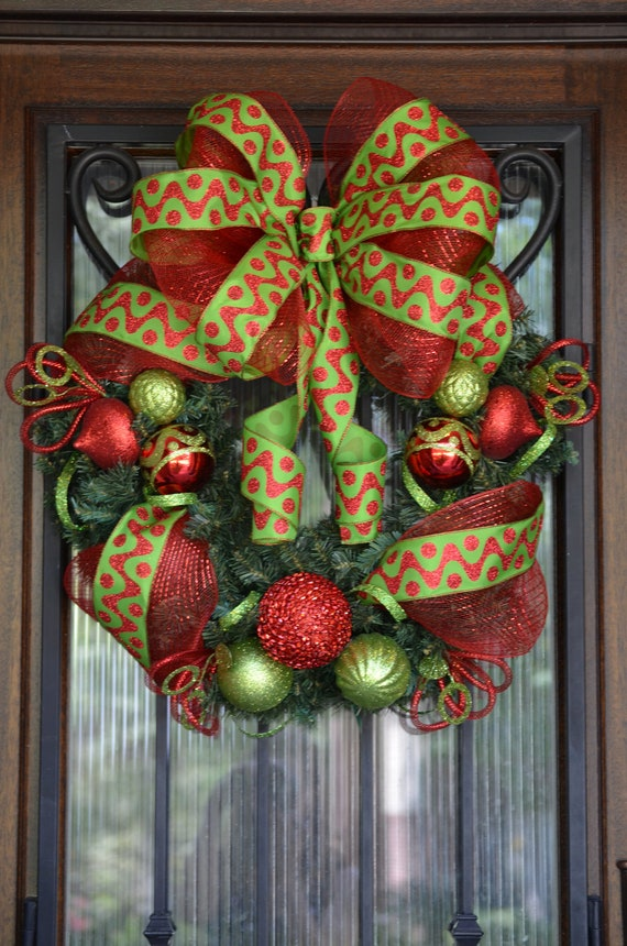 Red and Lime Green Christmas Wreath Ornaments Ribbon Deco