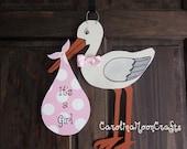 New Baby Girl Stork Door Hanger Door Decor - It's a girl, New Baby Wreath