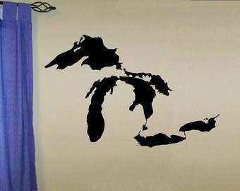 Great Lakes map wall decal WD north america lake boating fishing living room decal map decal waterways home decor nature decor vinyl decal