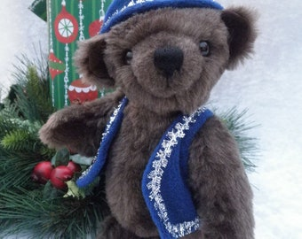 Johann - little brown bear with festive hat and vest