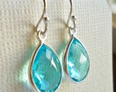 Blue Quartz Earrings, Sterling Silver Earrings, Bezel Set Gemstone - Bride, Bridesmaids Matching Set Azure ADPi November Sagittarius Jewelry