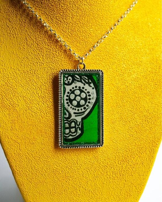 Day of the Dead Jewelry - Wearable Art Pendant -  Sugar Skull  -  Mexican Folk Art