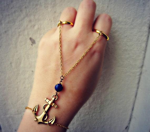 anchor slave bracelet, nautical bracelet, bracelet ring, slave ring, nautical jewelry