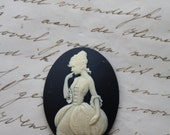 1 unset lady cameo - Ivory on black - 30x40mm - Baroque Rococo Marie Antoinette Woman Girl