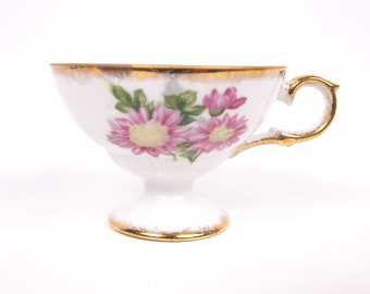Vintage Chrysanthemum Teacup Pink Brushed Gold Hand Painted Footed November Flower Tea Party