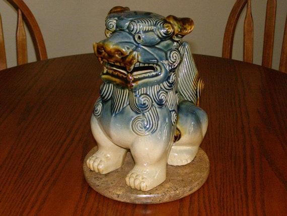 Vintage Chinese Foo Dog Porcelain Pottery Green Brown Glaze