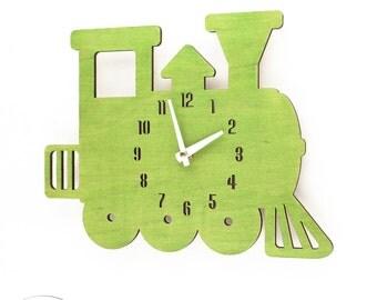 The Lime Green Choo-Choo Train designer wall mounted clock from LeLuni