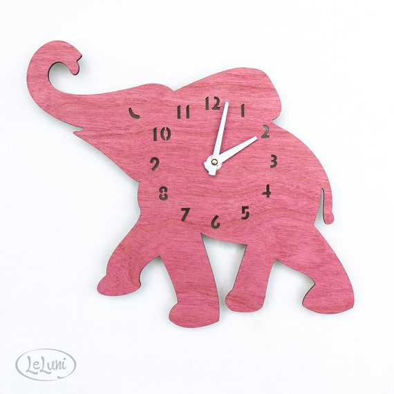 """The """"Baby Pink Elephant"""" designer wall mounted clock from LeLuni"""