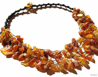 Baltic Amber Necklace. Raw Unpolished Beads.