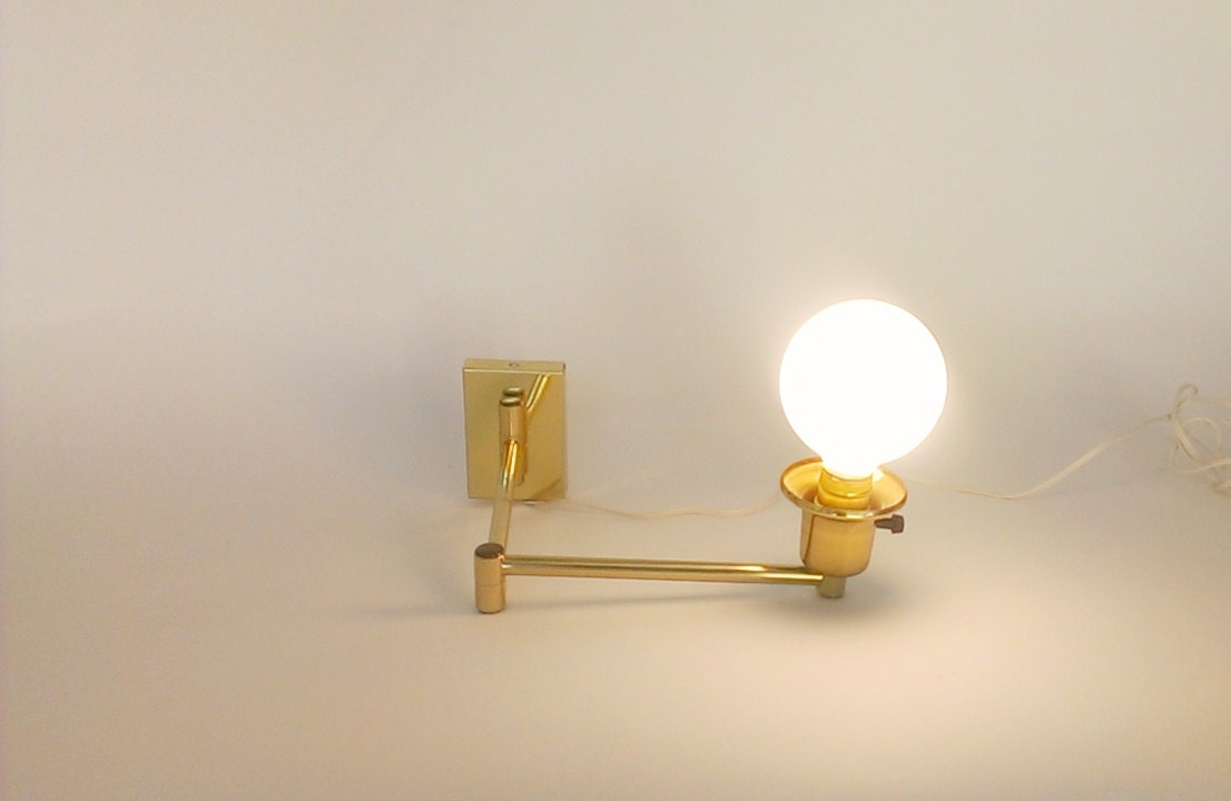 Vintage Plug In Wall Sconces : Vintage Swing Arm Sconce Brass Plug In Wall by TimandKimShow
