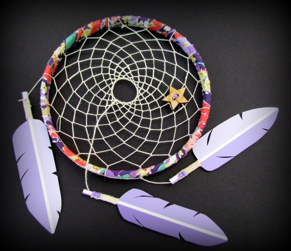 Vegan Dream Catcher- Tea Party - paint swatch art - purple - upcycled - modern - dreamcatcher - ready to ship