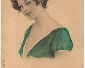 "Ca 1912 ""Lady in Green Dress"" Artiist Archie Gunn Signed Victorian Art Postcard - 564"