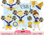 Royal Blue and Yellow Cheerleader digital clipart set for -Personal and Commercial Use-paper crafts,card making,scrapbooking,web design