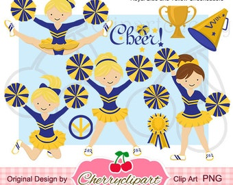 Cheerleader clip art etsy for Cheerleading arts and crafts