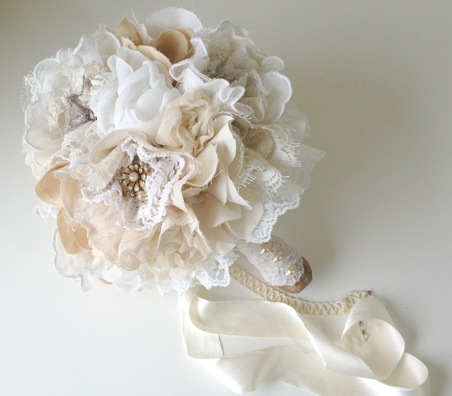 Making Fabric Flowers Wedding: Items Similar To Fabric Flower Bouquet, Vintage Weddings
