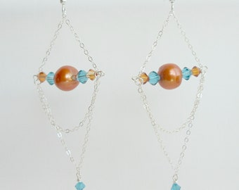 Sterling Chain Chandelier Earrings, One of a Kind Handmade Earrings