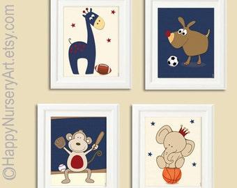 Sports nursery art prints, boy nursery wall art, cute animals posters for the nursery,nursery decor, boy nursery decor, nursery wall decor